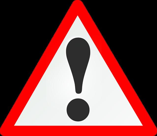 schwarzes Ausrufezeichen auf weißem Grund in einem roten Dreieck